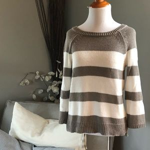 Grey and white striped LOFT sweater
